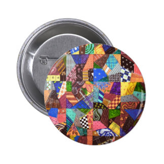 Crazy Quilt Patchwork Quilt Abstract Art Geometric Pinback Button