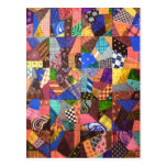 Crazy Quilt Patchwork Quilt Abstract Art Geometric Postcard