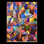 Crazy Quilt Patchwork Quilt Abstract Art Geometric Postcard