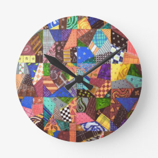 Crazy Quilt Patchwork Quilt Abstract Art Geometric Round Clock