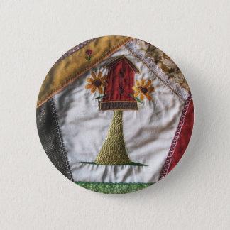 Crazy quilt pattern birhouse button