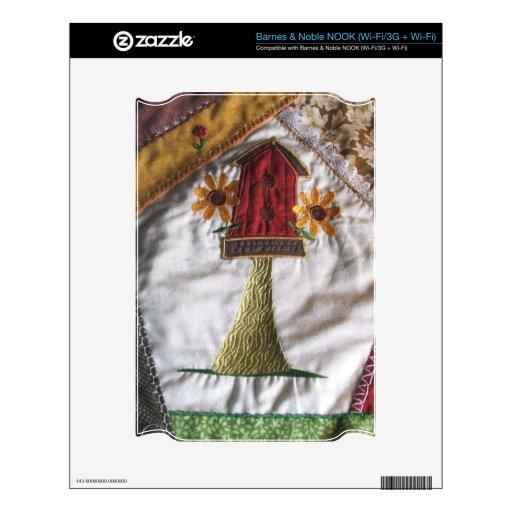 Crazy quilt pattern birhouse decal for NOOK