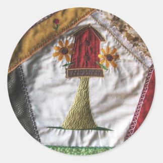 Crazy quilt pattern birhouse sticker