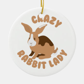 crazy rabbit lady circle ceramic ornament