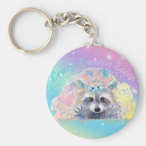 Crazy Raccoon Lover Button Keychain