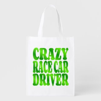 Crazy Race Car Driver in Green Reusable Grocery Bag