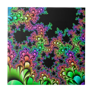 Crazy Rainbow Fractal Small Square Tile