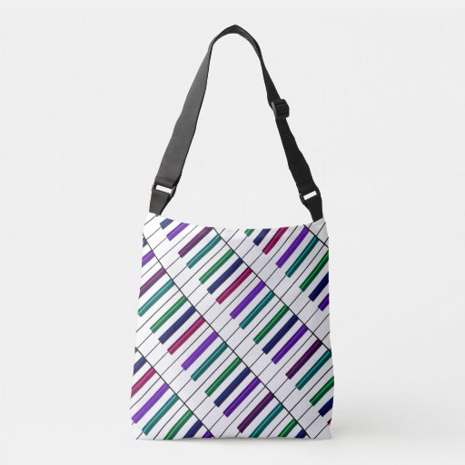 Crazy Rainbow Piano Keyboard Music Lover Cross Body Bag