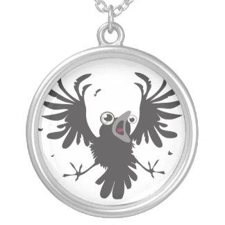 Crazy Raven~necklace Round Pendant Necklace
