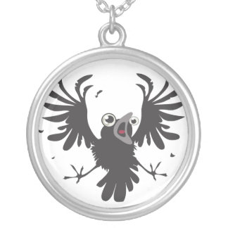 Crazy Raven~necklace Silver Plated Necklace