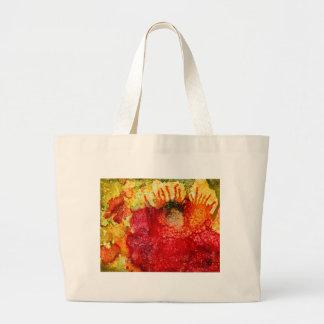 Crazy red flower tote bag