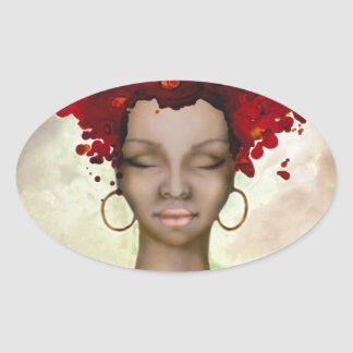 Crazy Red Hair Morning Oval Sticker