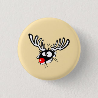 Crazy Red Nosed Reindeer Button