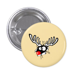 Crazy Red Nosed Reindeer 1 Inch Round Button