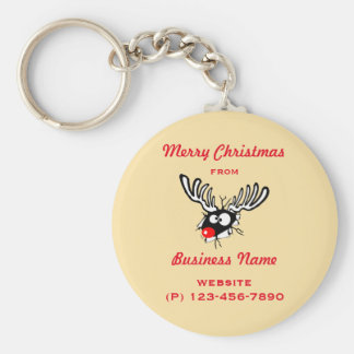 Crazy Red Nosed Reindeer Customized Business Keychain