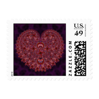 Crazy Red & Purple Valentines Fractal Postage