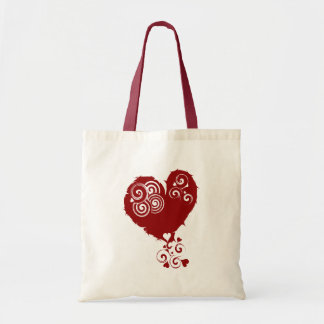 Crazy Red Swirly Heart Budget Tote Bag