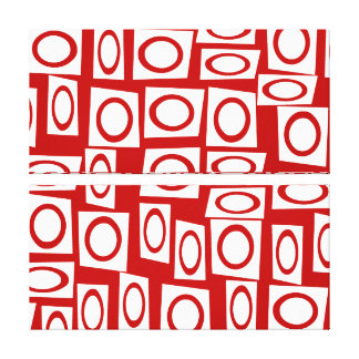 Crazy Red White Fun Circle Square Geometric Design Gallery Wrap Canvas