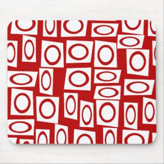 Crazy Red White Fun Circle Square Geometric Design Mouse Pad