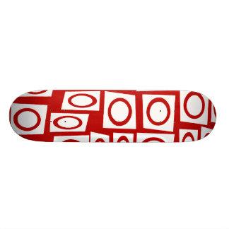 Crazy Red White Fun Circle Square Geometric Design Skateboard