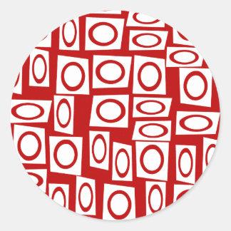 Crazy Red White Fun Circle Square Geometric Design Round Sticker