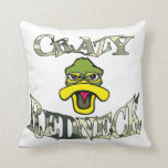 Crazy Redneck Duck Head Camo Throw Pillows