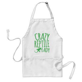 crazy reptile lady adult apron