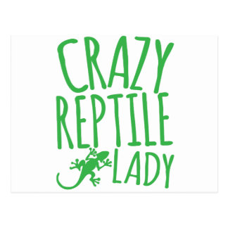 crazy reptile lady postcard
