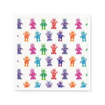 Crazy Robot Pattern Theme Birthday Party Paper Napkin