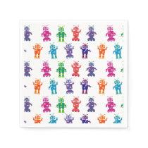 Crazy Robot Pattern Theme Birthday Party Paper Napkins