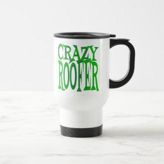 Crazy Roofer in Green Travel Mug