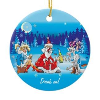 Crazy Santa Drinking Ornaments ornament