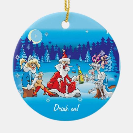 Crazy Santa Drinking Ornaments