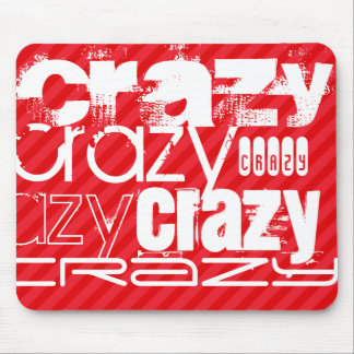 Crazy; Scarlet Red Stripes Mouse Pad