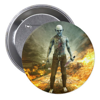 Crazy Scary Monster Apocalyptic Scene Button