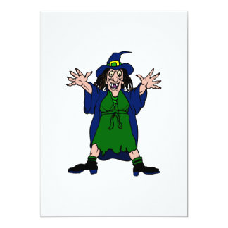 Crazy Scary Witch Personalized Invitations