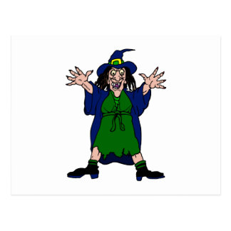 Crazy Scary Witch Post Cards