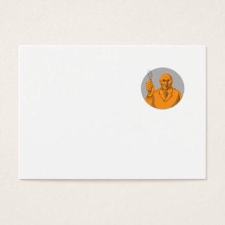 Crazy Scientist Holding Test Tube Circle Drawing Business Card