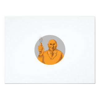Crazy Scientist Holding Test Tube Circle Drawing Card