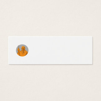 Crazy Scientist Holding Test Tube Circle Drawing Mini Business Card