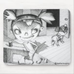 Crazy Sewing Girl Mouse Pad