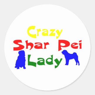CRAZY SHAR PEI LADY CLASSIC ROUND STICKER