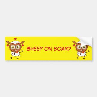 Crazy sheep feeling lucky in love car bumper sticker