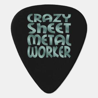 Crazy Sheet Metal Worker in Silver Metal Guitar Pick
