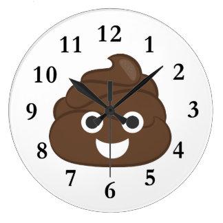Crazy Silly Brown Poop Emoji Large Clock