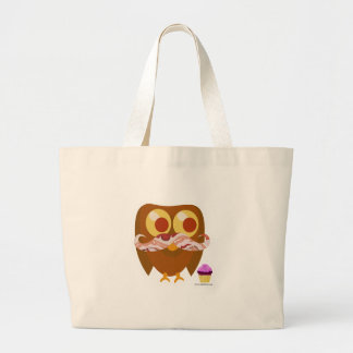 Crazy Silly Mustache Owl Large Tote Bag