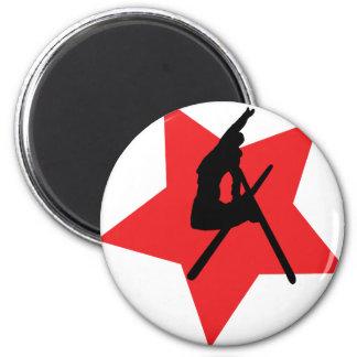 crazy ski jump red star magnet