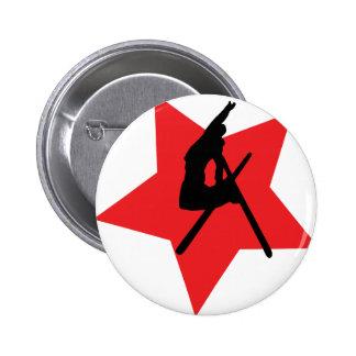 crazy ski jump red star pinback button