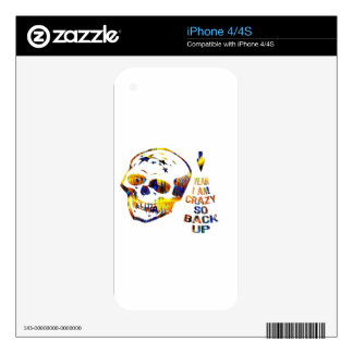 Crazy Skull in Bright Colors Skins For iPhone 4S