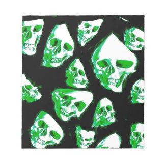 crazy skulls green memo pad